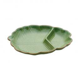 Folha decorativa 25,5 x 16 cm de cerâmica verde Banana Leaf Lyor - L4125