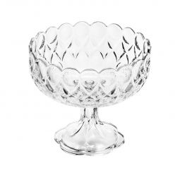 Fruteira 22 cm de cristal transparente com pé Angélica Wolff - 25557