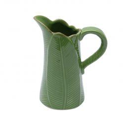 Jarro decorativo 18 cm de cerâmica verde Banana Leaf Lyor - L3877