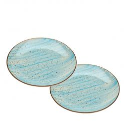 Jogo 2 pratos 19 cm para sobremesa de porcelana azul Watercolor Bon Gourmet - 26492
