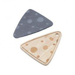 Jogo 2 tábuas 15 cm para queijo de bambu e ardósia Lyor - L6769