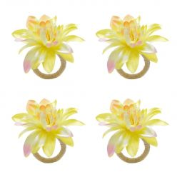 Jogo 4 anéis para guardanapo 15 cm de plástico Gardênia Amarela Bon Gourmet - 35483