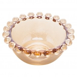 Jogo 4 bowls 9 cm para sobremesa de cristal âmbar Pearl Wolff - 28230