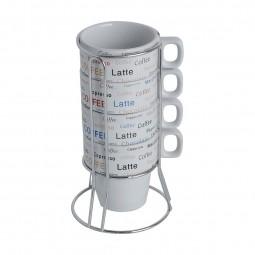 Jogo 4 xícaras 220ml para café de porcelana branca com suporte Flavors Bon Gourmet - 30368