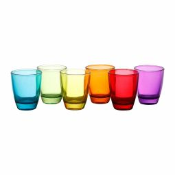 Jogo 6 copos 55ml para shot de vidro coloridos Lyor - L9756