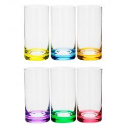 Jogo 6 copos 380ml para long drink de cristal ecológico colorido Set-Bar Favorit Bohemia - 35028