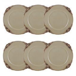 Jogo 6 peças Sousplat 35 cm de plástico creme e marrom Provençal Bon Gourmet - 30376