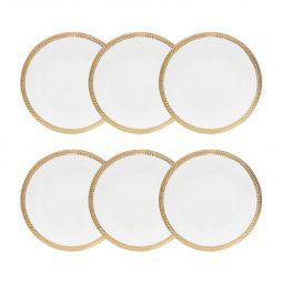 Jogo 6 pratos 19 cm para sobremesa de porcelana branca e dourado Paddy Wolff - 25108
