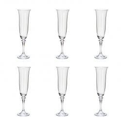 Jogo 6 taças 175ml para champagne de vidro transparente Kleopatra Bohemia - 5232