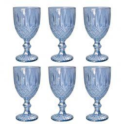 Jogo 6 taças 220ml para água de vidro azul Greek Bon Gourmet - 35453