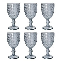 Jogo 6 taças 220ml para água de vidro cinza Roman Bon Gourmet - 35458