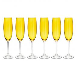 Jogo 6 taças 220ml para champagne de cristal ecológico colibri topázio Gastro/Colibri Bohemia - 35037