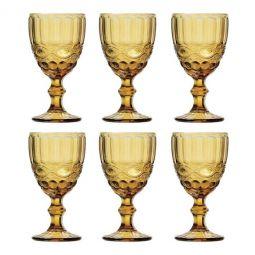 Jogo 6 taças 260ml para água de vidro âmbar Libélula Lyor - L66943