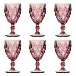 Jogo 6 taças 260ml para água de vidro lilás Diamond Lyor - L6474