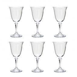 Jogo 6 taças 290ml para vinho tinto de vidro transparente Kleopatra Bohemia - 5231
