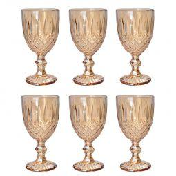 Jogo 6 taças 220ml para água de vidro âmbar Greek Bon Gourmet - 35452