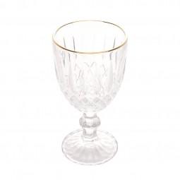 Jogo 6 taças 345ml para água de vidro com fio ouro  Greek Bon Gourmet - 35692