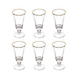 Jogo 6 taças 50ml para licor de cristal transparente com filete de ouro Tulip Wolff - 27428