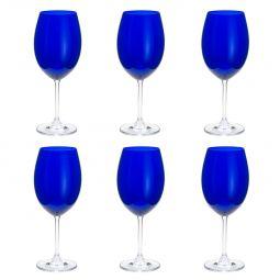 Jogo 6 taças 580ml para água de cristal ecológico cobalto Gastro/Colibri Bohemia - 35040