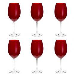 Jogo 6 taças 580ml para água de cristal ecológico rubi Gastro/Colibri Bohemia - 35044