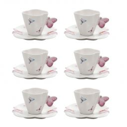 Jogo 6 xícaras 100ml para café de porcelana com pires Borboletas Wolff - 1162