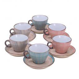 Jogo 6 xícaras 200 ml para chá de porcelana colorida com pires Watercolor Bon Gourmet - 26489