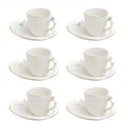 Jogo 6 xícaras 90ml para café de porcelana colorida com pires design Flower Wolff - 35468