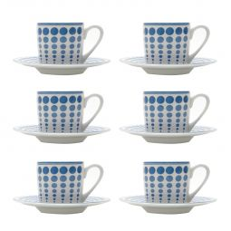 Jogo 6 xícaras 90ml para café de porcelana com pires Blue Dots Bon Gourmet - 17331