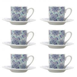 Jogo 6 xícaras 90ml para café de porcelana com pires Lisboa Bon Gourmet - 17332