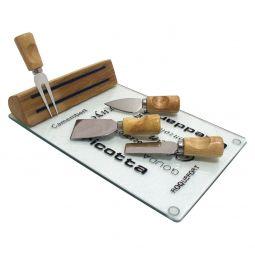 Kit 5 peças para queijo de vidro, metal e madeira Monte Carlo Bon Gourmet - 7852