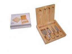 Kit 4 peças para queijo de aço inox e madeira com estojo Pontual - P143039A