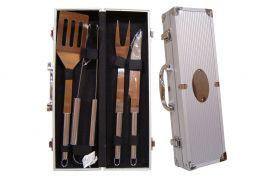 Kit churrasco 4 peças de aço inox com maleta de metal Pontual - P141869