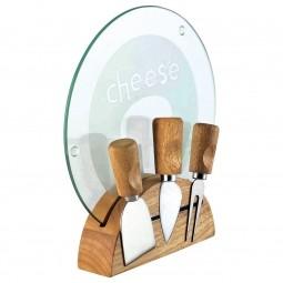 Kit 5 peças para queijo de aço inox e madeira com tábua de vidro Monaco Bon Gourmet - 7851