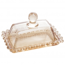 Manteigueira 14 cm de cristal âmbar com tampa Pearl Wolff - 28221