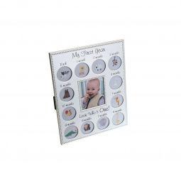 Porta-retrato para 13 fotos de aço escovado 1° Ano do Bebê Prestige - 26934
