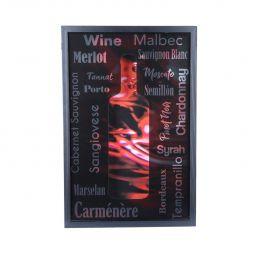 Quadro porta rolhas de vinho 47 x 31 cm de madeira e vidro preto Woodart - 12802