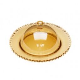 Queijeira 20 cm de cristal com tampa Pearl Âmbar Wolff  28267