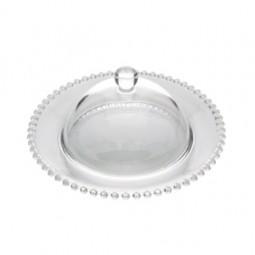 Queijeira 20 cm de cristal transparente com tampa Pearl Wolff  28266