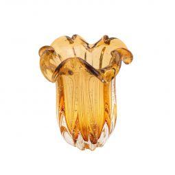 Vaso decorativo 21 cm de vidro âmbar Flat Italy Lyor - L4266