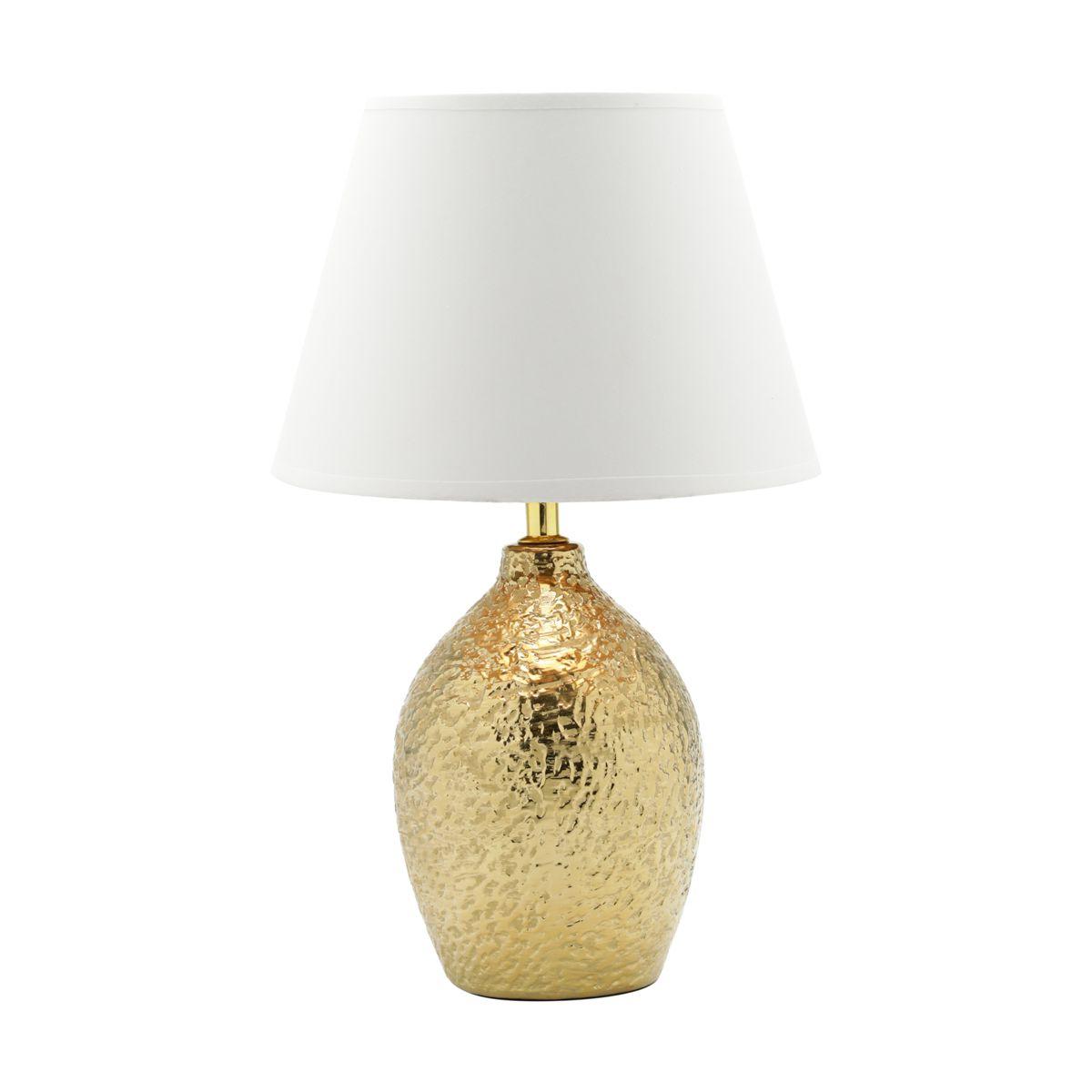 Abajur 41 cm de cerâmica dourado e cúpula branca Bivolt Royal - 60561