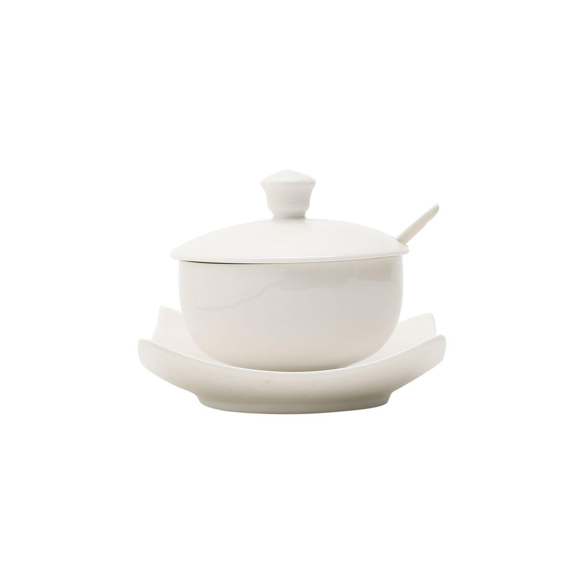 Açucareiro de porcelana com prato e colher Lyon Wolff - 1161