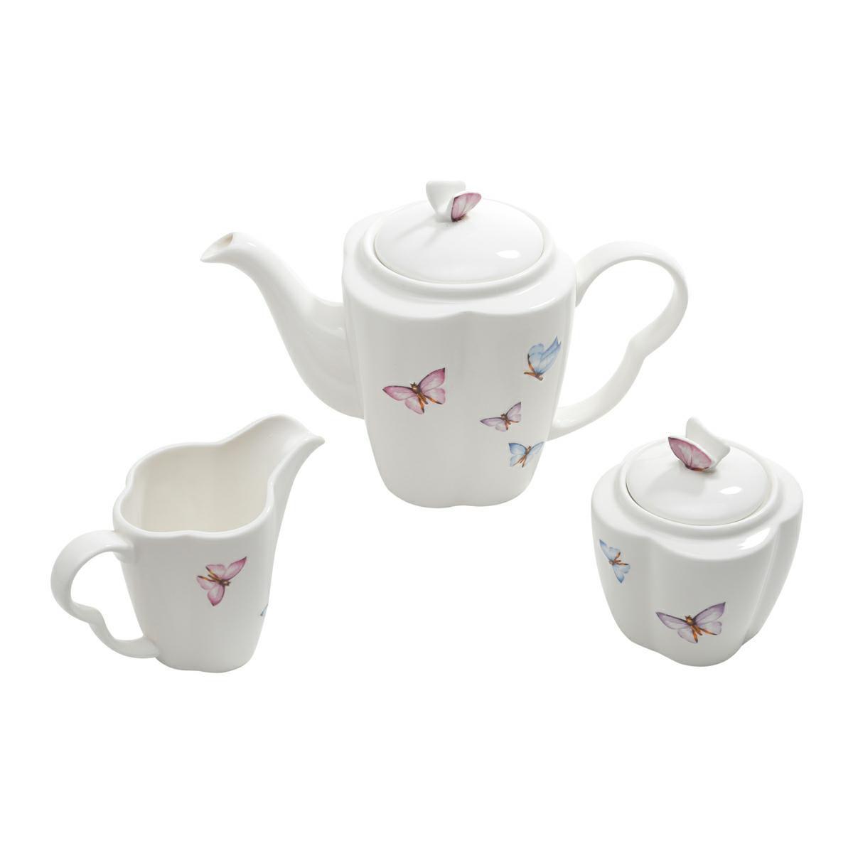 Conjunto 3 peças para café de porcelana Borboletas Wolff - 25039