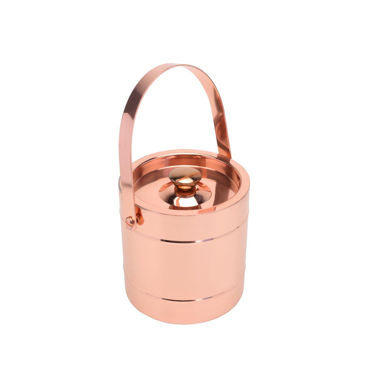 Balde para gelo 2,8 litros de aço inox cobre rosé gold com parede dupla Delhi Wolff - 27321