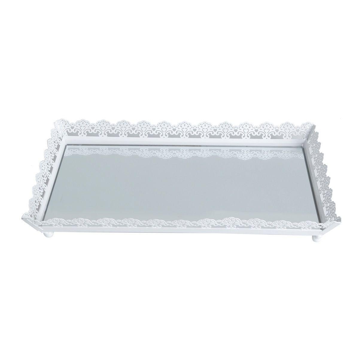Bandeja, Suporte 30 cm de ferro esmaltado branco com espelho Bon Gourmet - 4769