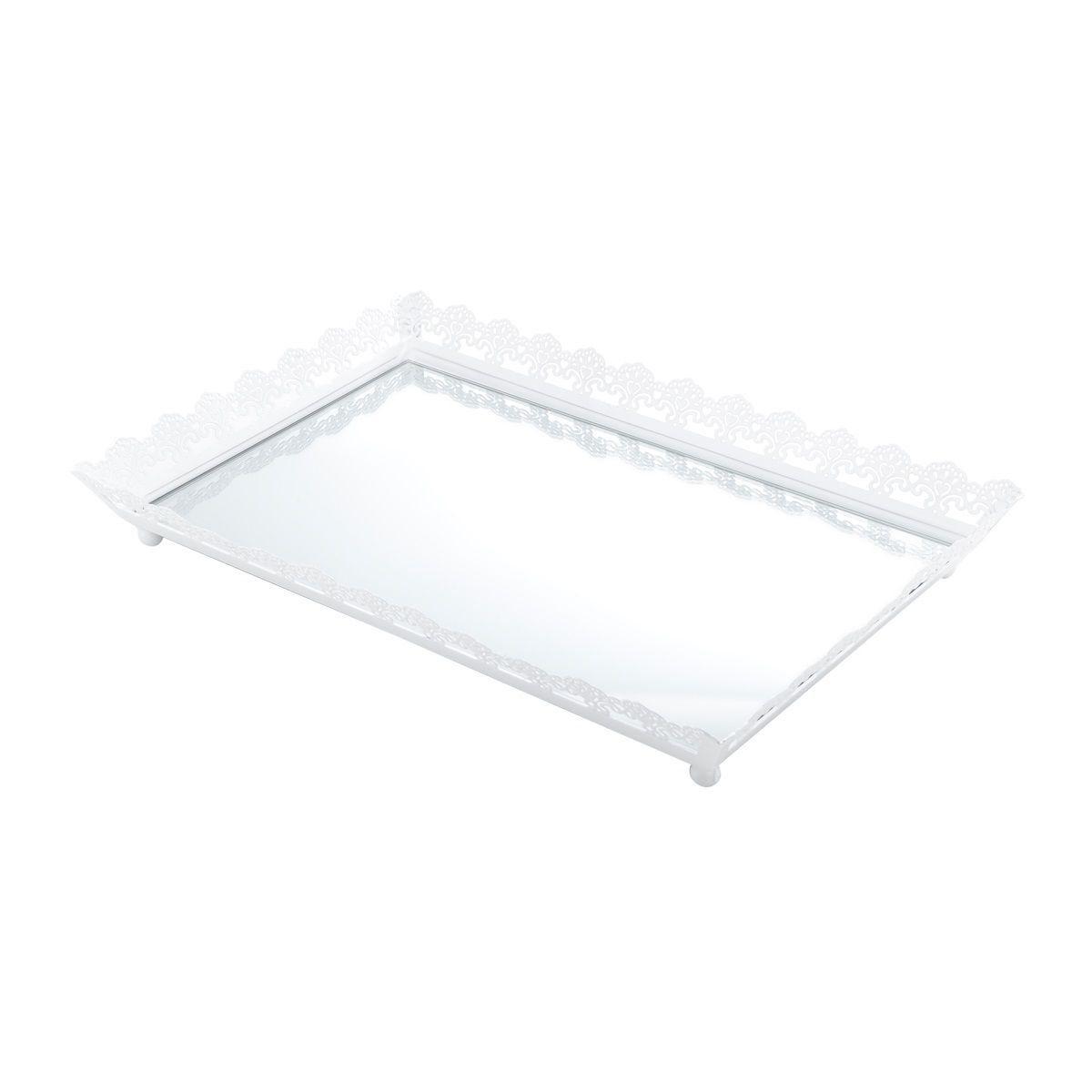 Bandeja, Suporte 43 cm de ferro esmaltado branco com espelho Bon Gourmet - 4739