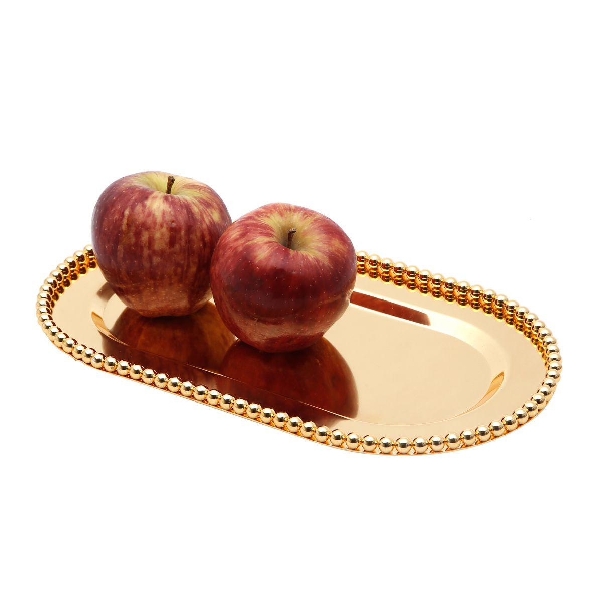 Bandeja oval 29 x 16,5 cm de zamac dourado Balls Lyor - L3745