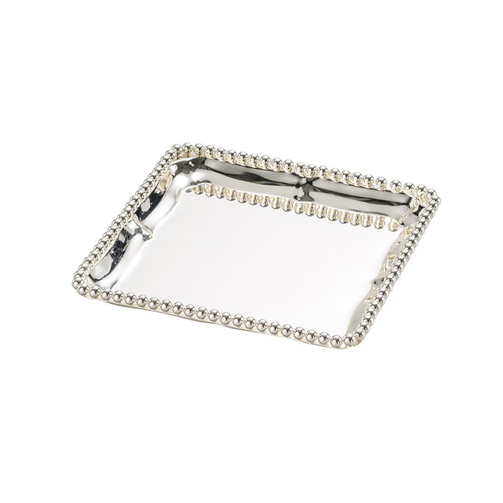 Bandeja quadrada 14,5 cm de zamac banhado em prata Balls Lyor - L3364