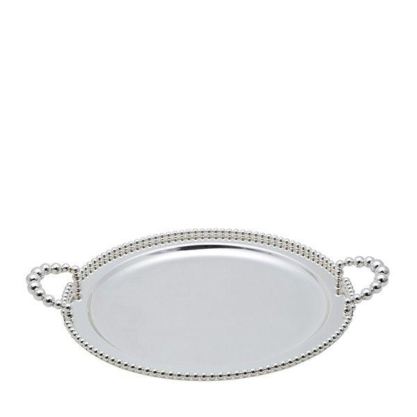 Bandeja redonda 32 cm de zamac banhado em prata com alça Balls Lyor - L3759