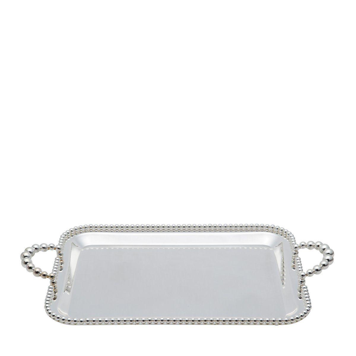 Bandeja retangular 43,2 x 26 cm de zamac banhado em prata com alça Balls Lyor - L3760