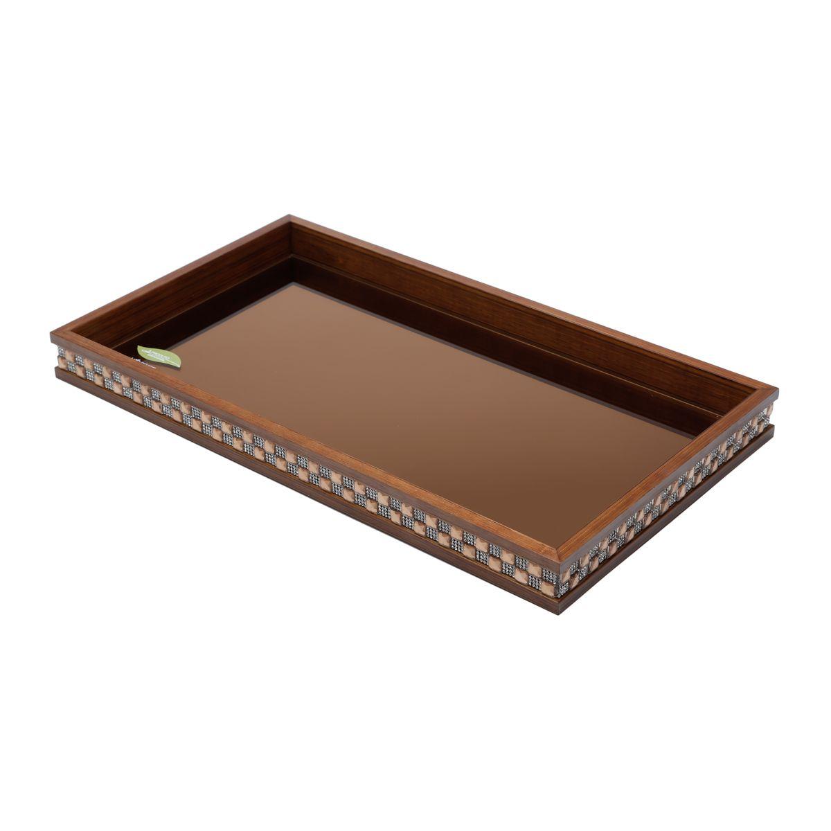 Bandeja, suporte 34,5 cm de madeira com vidro bisotê marrom Diamond Woodart - 11985